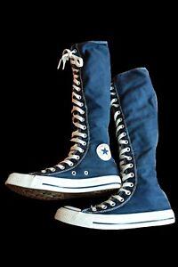Converse ALL STAR knee high dark denim blue size 4 trainer boots steampunk