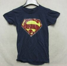 S3761 Vintage 1970's Women's Small Iron On Blue Superman Logo T-Shirt