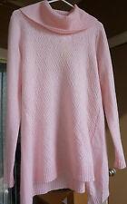 NWT Women's Peck&peck 100% cashmere sweater turtle neck light pink XL MFSR$188