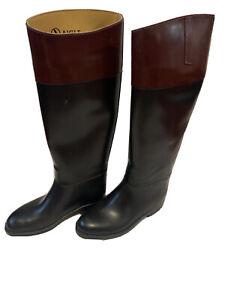 Aigle Riding Boots Womens Size 39EUR XL 7US Equestrian Black/Brown Coupe Saumur