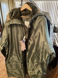 Army Green Parka Extreme Cold Weather Type N-3B Men's Large