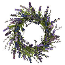 20 in Artificial Silk Lavender Floral Wreath 4785 Purple Nearly Natural Eclectic