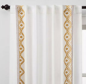 One Opalhouse Global Border Curtain Pane Embroidered Yellow 63L Nwot