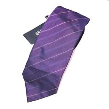 Hugo Boss Tafeta Silk Purple Striped Slim Neck Tie Mens 3x58 NWT $115