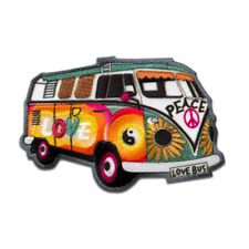 Iron on patches - Hippie Bus Bully Love Peace car – colorful - 7,2x4,8cm - Appli
