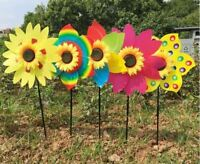 New Sunflower Windmill Wind Spinner Decoration Home Yard Garden Decor