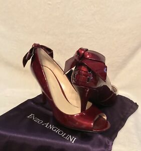 "NEW ENZO ANGIOLINI Burgundy Patent Leather ""HEEL BOWS"" Pumps Shoes, 8.5"