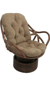 "Blazing Needles MicroSuede Swivel Rocker Chair Cushion 48"" X 24"" Java"