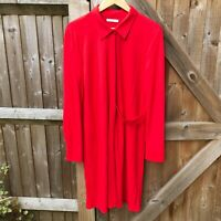 Zara Red Tunic Shirt Dress Size L / UK 14 VGC