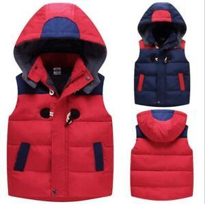 New Kids Child Short Jaket Boy Girl Warm sleeveless Cotton Down Hooded Coat Vest