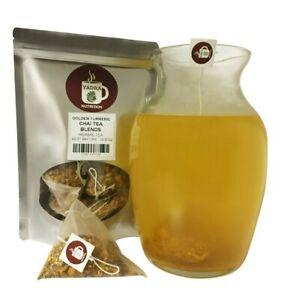Golden Turmeric Chai Tea Pyramid Sachets Herbal Loose Leaf Tea ICED or HOT