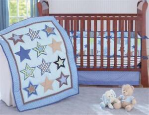 Little Stars Baby Crib Cot Bedding Quilt Bumper Sheet Dust Ruffle Set of 4pcs