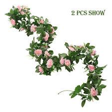 2x 8ft Artificial Rose Garland Pink Silk Flower Vine Ivy Wedding Garden Décor