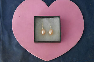 Beautiful Earrings With Freshwater Gold Pearls 1.5 Cm.Long + Silver Hooks In Box