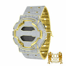14K Yellow Gold Tone On White Cubic Zirconium Custom Icy  G Shock GD100-1B Watch