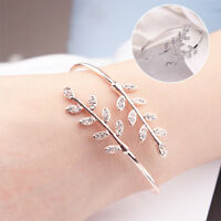 Women Bracelet Party Jewelry Silver Leaf Bangles Adjustable Opening Bangles Gift