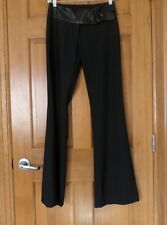 GUESS COLLECTION BLACK WOOL BLEND BOOT-CUT PANTS w GENUINE LEATHER WAISTBAND...2