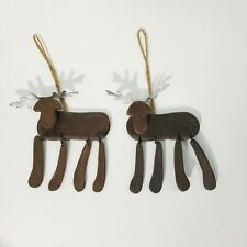 Wood Moose Ornaments Christmas Tree Country Cabin Primitive Hanging  Rustic