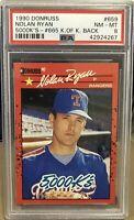 Nolan Ryan 1990 Donruss #659 5,000K's - #665 King of Kings Back PSA 8 NM-MT