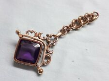 ANTIQUE VICTORIAN POCKET WATCH CHAIN NATURAL BIG AMETHYST STONE SPINNER FOB