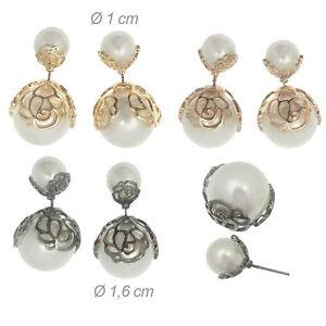 Orecchini Fiore Metallo Anallergico 2 perle bianco palla bolla sfera lobo