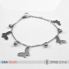 Women Girl Stainless Steel Butterfly Ball Charm o Link Chain Bracelet Silver B80
