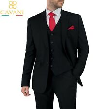 Mens Cavani Slim Fit Black Formal Wedding Blazer Waistcoat Trousers 3 Piece Suit
