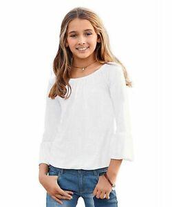 Arizona Mädchen Shirt Carmenshirt Trompete Top Weiß 287640 Gr. 176/182 NEU