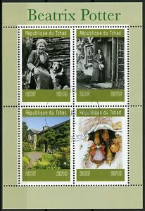 Chad 2019 CTO Beatrix Potter 4v M/S III Writers Dogs Rabbits Animals Stamps