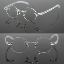 Vintage Reading Glasses 40mm Small Oval Round TR90 Light Flexible Rimless Unisex
