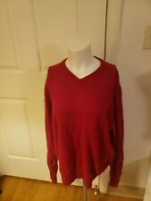 Men's 100% Cashmere TAHARI Red V-Neck Sweater Size XL