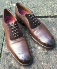 GRENSON BROWN LEATHER & SUEDE OXFORDS UK Size 8F ABSOLUTELY GORGEOUS