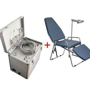 Portable Dental Unit with Air Compressor Suction 3 Way Syringe and Folding Chair