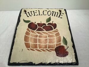 """Black Slate Welcome Sign Featuring a Basket of Red Apples-For Hanging-12"""" X 10"""""""