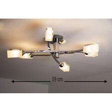 Moderne Chrome Plafond 6 voie en verre dépoli cube lumière G9 Raccord Spotlight Lumière