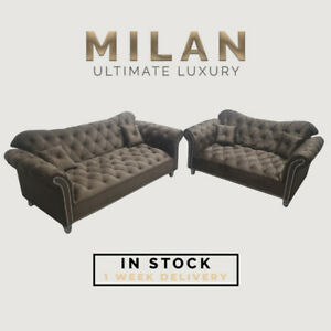 New Milan Fabric Premium Plush Sofa Set With Pillows 3+2 Sale Couch *Sale* UK