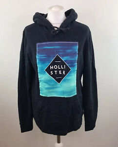 Hollister Hoodie Black Blue Spell Out Pullover Jumper Sz Small Men's