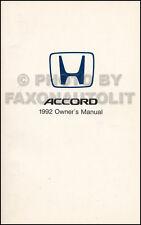 1992 Honda Accord Coupe Owners Manual Original 2 Door Owner Guide Book DX EX LX