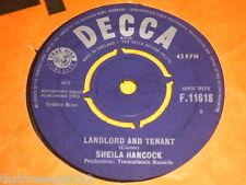 "VINYL 7"" SINGLE - SHEILA HANCOCK - LANDLORD AND TENANT - F.11618"
