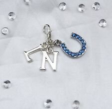 Something Blue Crystal Horse Shoe & Two Letters Bride Gift Garter Clip On Charm