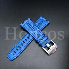 28MM Alligator Leather Watch Band Strap Fits For AP Audemars Piguet Light Blue