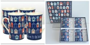4 Fine China Beach Hut Mugs in a Presentation Gift Box
