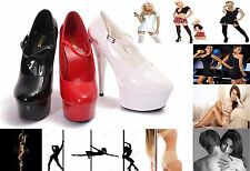 WOMENS LADIES SEXY FETISH PARTY STILETTO HEEL HIGH PLATFORM COURT SHOES SIZE 3-8