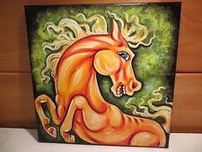 Olie Cannoli Griffard Original 12X12 Acrylic Painting Yellow Horse