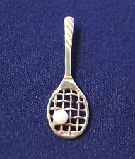 14K Yellow Gold Tennis Racquet with Pearl Pendant  Charm