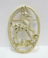Vtg SARAH COVENTRY Fawn Deer Brooch Pin Oval Outline Bambi Light Gold Tone Metal