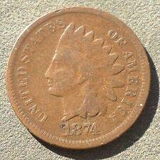 USA 1874 Indian Head Cent Philadelphia Bronze F Nice Grade Selten 3729