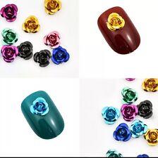 10 x Aluminum flowers DIY 3D Nail Art Decoration Rose Acrylic Rhinestone Gems