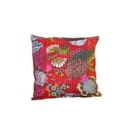 Set of 2 Indian Kantha Cushion Pillow Cover Decorative Boho Handmade Embroidery
