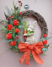 "25"" Sisal rabbit Orange Floral Easter Door Grapevine Wreath Handmade"